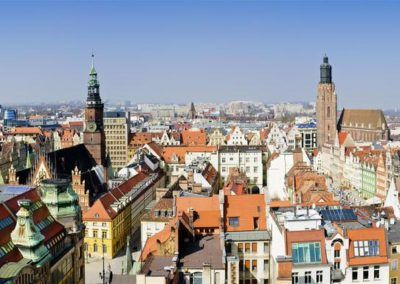 air view panorama with wroclaw (breslau), poland